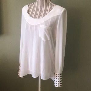 Double Zero, Sheer cream high low blouse